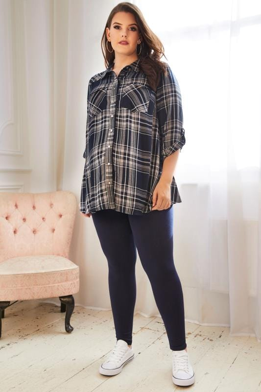 BUMP IT UP MATERNITY Navy & Grey Checked Shirt With Embellished Shoulders