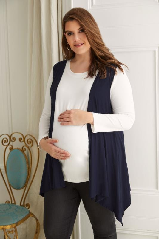 Plus Size Maternity Cardigans & Shrugs BUMP IT UP MATERNITY Navy Longline Sleeveless Waterfall Cardigan