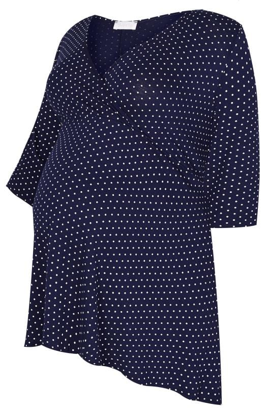 Plus Size Tops & T-Shirts BUMP IT UP MATERNITY Navy Polka Dot Wrap Top