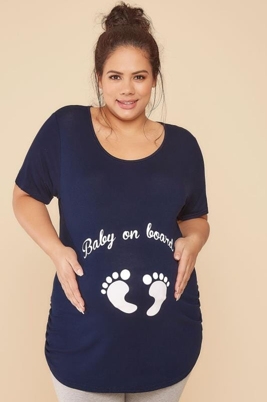 "Tops & T-Shirts BUMP IT UP MATERNITY Navy Top With White Glitter ""Baby On Board"" Print 056353"