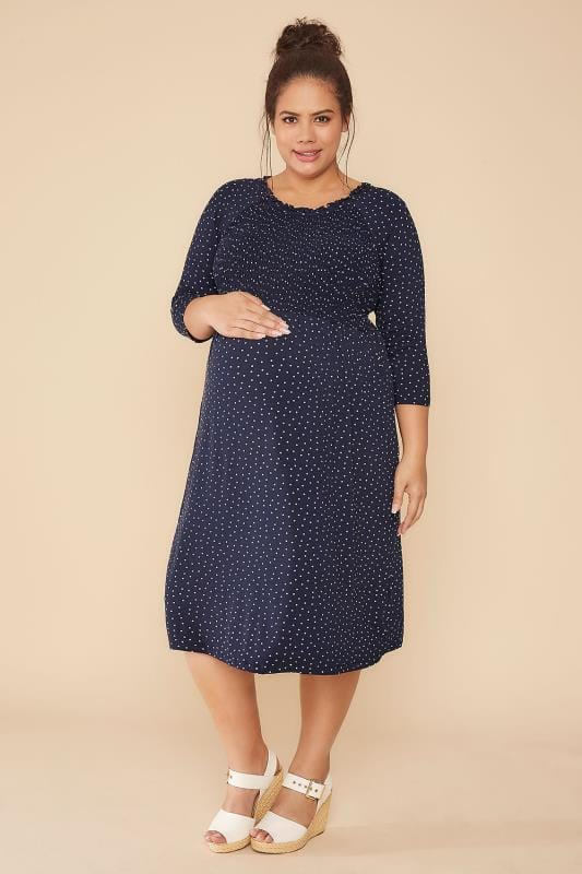 BUMP IT UP MATERNITY Navy & White Polka Dot Dress With Ruched Bodice