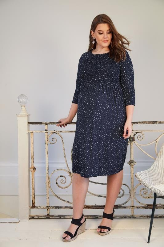 Bump It Up Maternity Navy Amp White Polka Dot Dress With