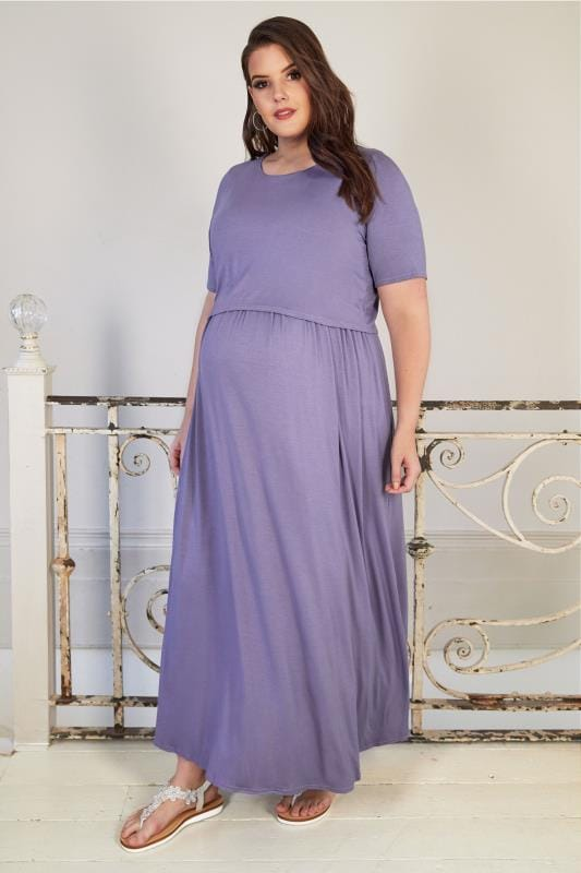 Plus Size Maternity Dresses BUMP IT UP MATERNITY Purple Maxi Dress With Nursing Function