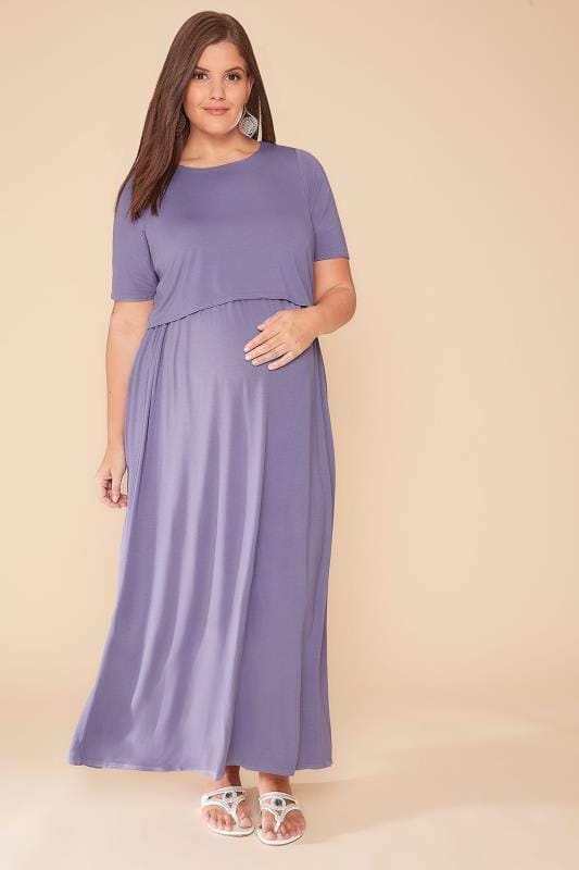 Plus Size Dresses BUMP IT UP MATERNITY & Nursing Dusky Purple Maxi Double Layer Dress