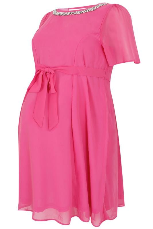 Robes BUMP IT UP MATERNITY- Robe Rose Chiffon Avec Ornement Strass et Ceinture à Nouer 158067