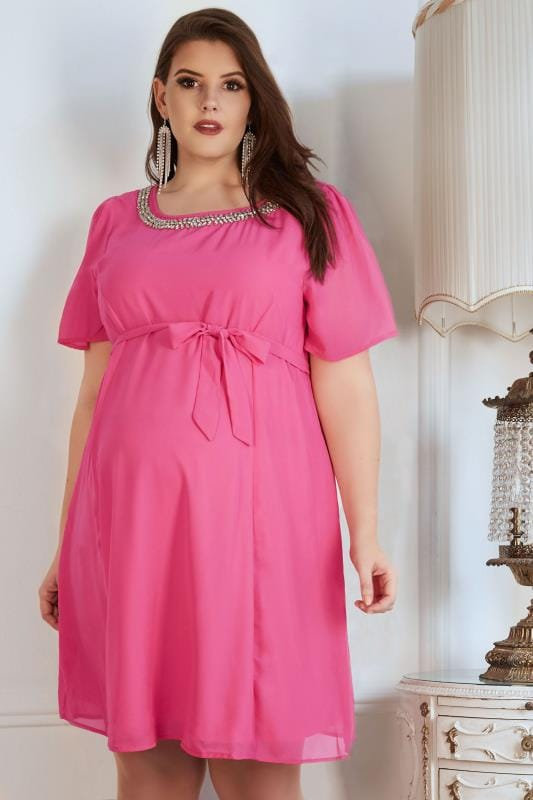 Plus Size Maternity Dresses BUMP IT UP MATERNITY Pink Chiffon Dress With Jewel Embellished Neckline & Self Tie Waist
