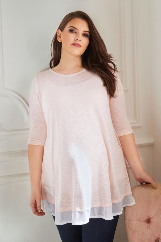 Plus Size Tops & T-Shirts BUMP IT UP MATERNITY Pink Fine Knit Top With Chiffon Layer & Split Back