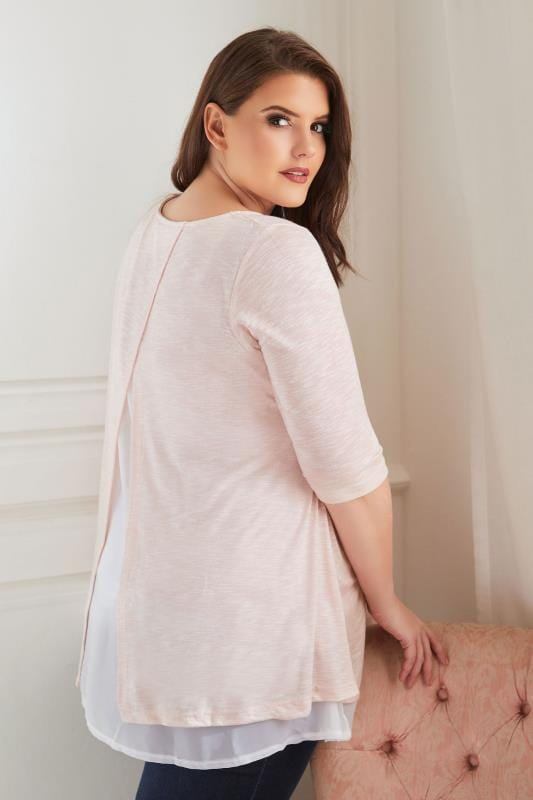 BUMP IT UP MATERNITY Pink Fine Knit Top With Chiffon Layer & Split Back