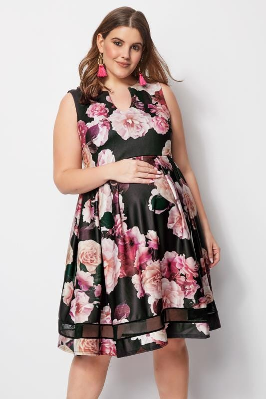 99ffa1c483465 BUMP IT UP MATERNITY Pink Floral Skater Dress, Plus size 16 to 32
