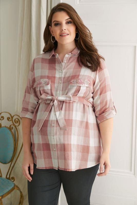 Plus Size Tops & T-Shirts BUMP IT UP MATERNITY Pink & White Checked Shirt With Embroidered Pockets