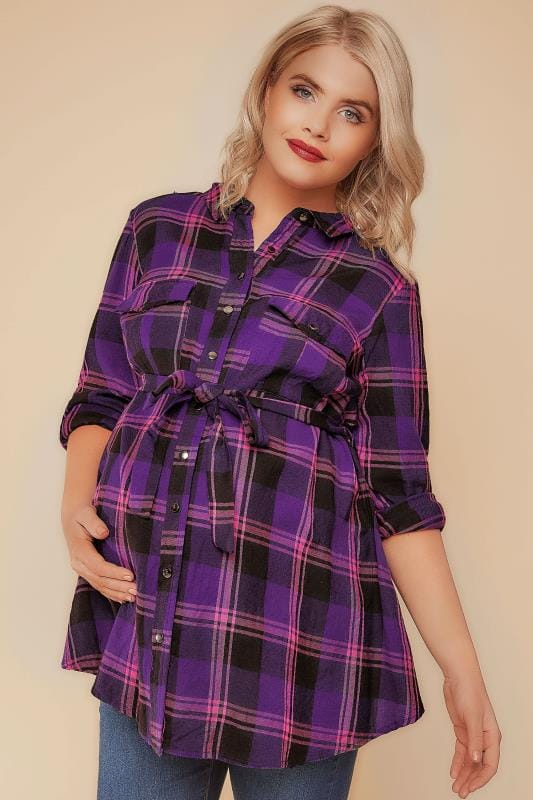 BUMP IT UP MATERNITY Purple & Pink Checked Shirt With Tie Waist