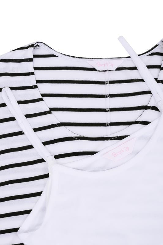 BUMP IT UP MATERNITY White & Black Striped 2 In 1 Nursing