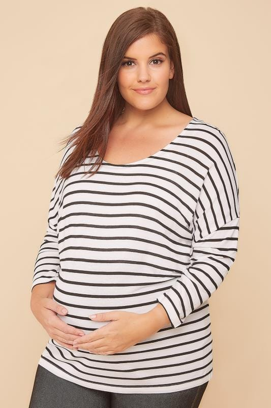 BUMP IT UP MATERNITY White & Black Striped 2 In 1 Nursing Vest and Top