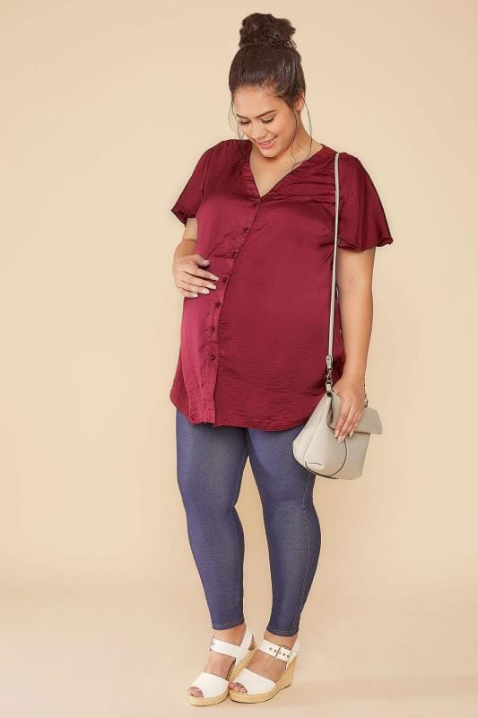 BUMP IT UP MATERNITY Wine Satin Blouse With Angel Sleeves