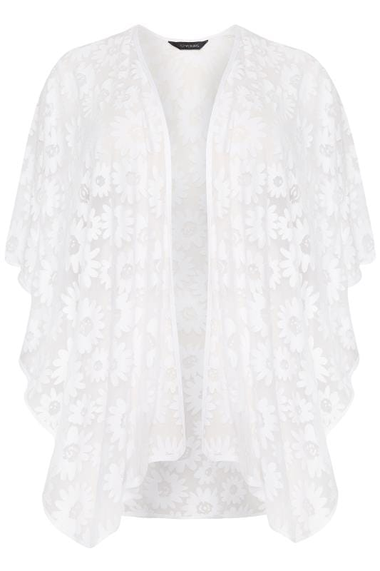 Plus Size Kaftans & Cover Ups White Burnout Daisy Kaftan