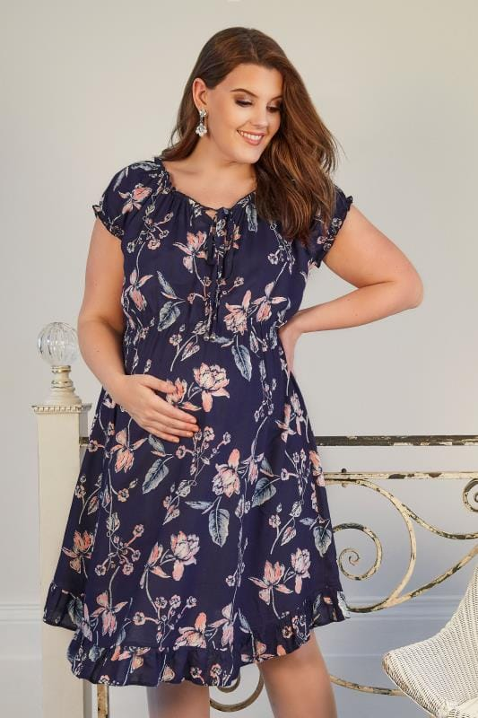 BUMP IT UP MATERNITY Navyblaues & Rosa Gypsy-Kleid mit Blumenprint & elastischem Bund