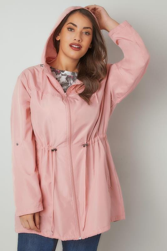 Baby Pink Pocket Parka Jacket With Hood Plus Size 16 To 36