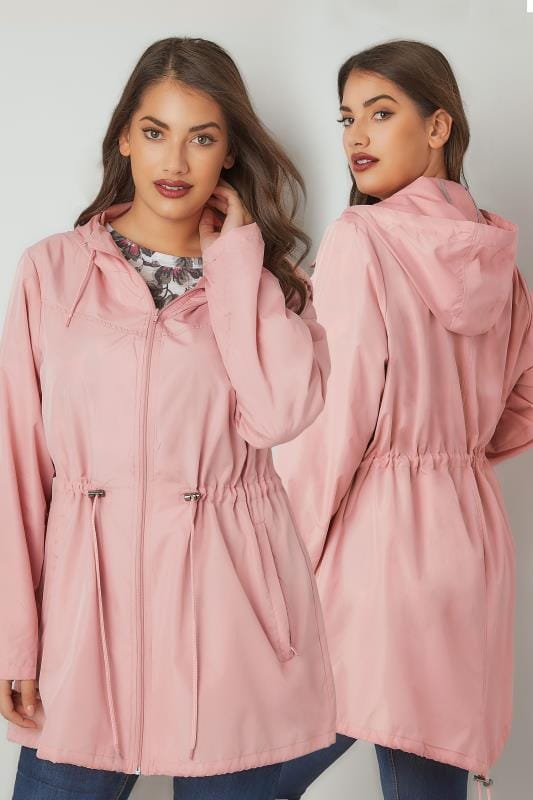 Plus Size Rain Coats Baby Pink Pocket Parka Jacket With Hood