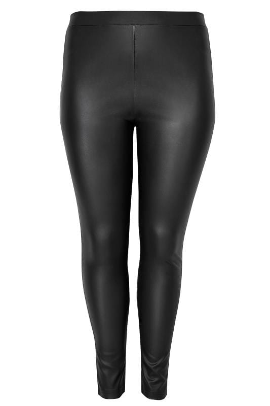 Plus Size Fashion Leggings Black PU Leggings