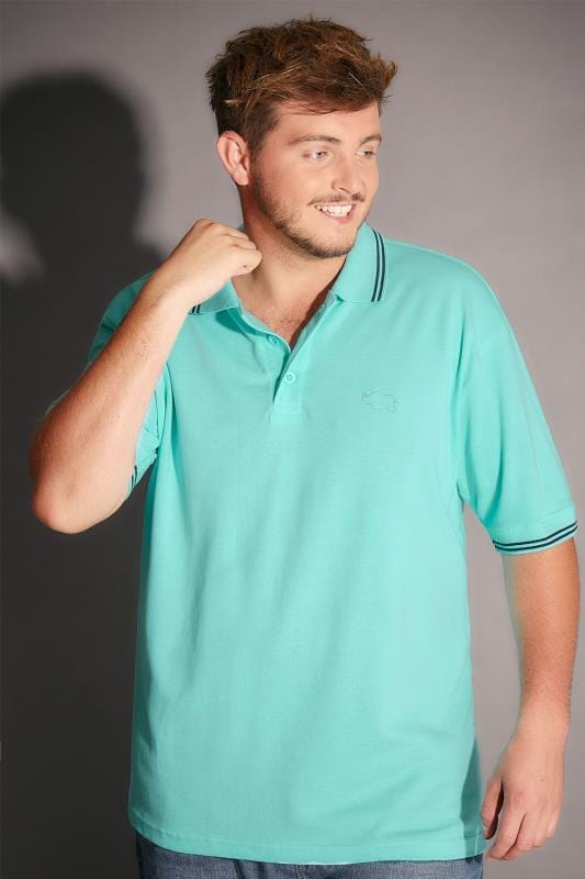 BadRhino Aqua Blue Polo Shirt With White Stripe Detail - TALL