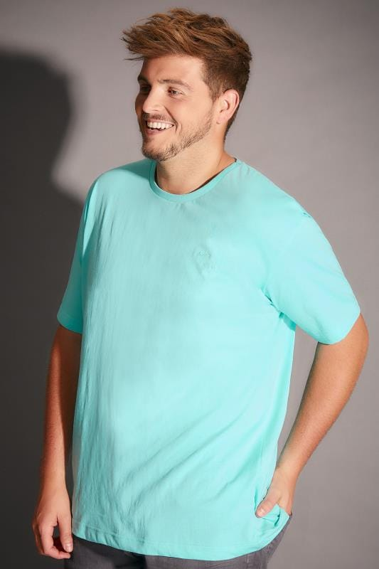 BadRhino Aqua Crew Neck Basic T-Shirt - TALL