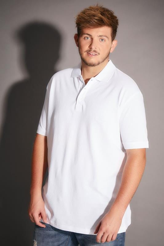 BadRhino White Basic Polo Shirt - TALL