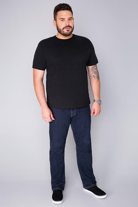 BadRhino Black Basic Plain Crew Neck T-Shirt - TALL