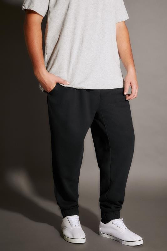 BadRhino Black Basic Sweat Joggers With Pockets - TALL