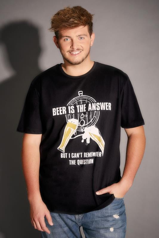 BadRhino Black Beer Is The Answer Slogan T-Shirt - TALL