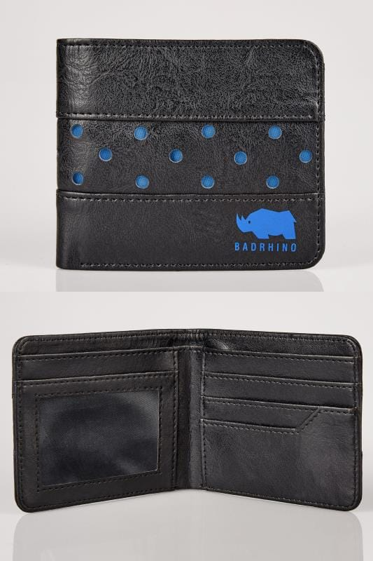 Gifts  BadRhino Black & Blue Perforated Bi-Fold Wallet 200526