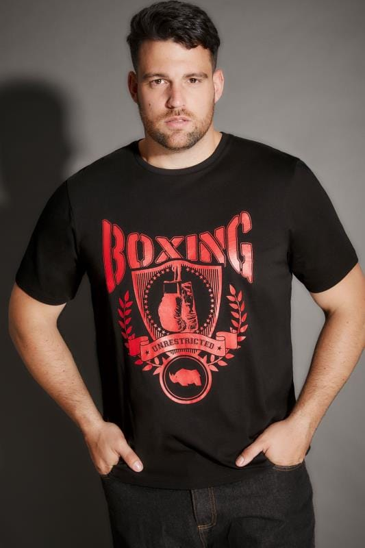 BadRhino Black 'Boxing' Print T-Shirt With Crew Neck