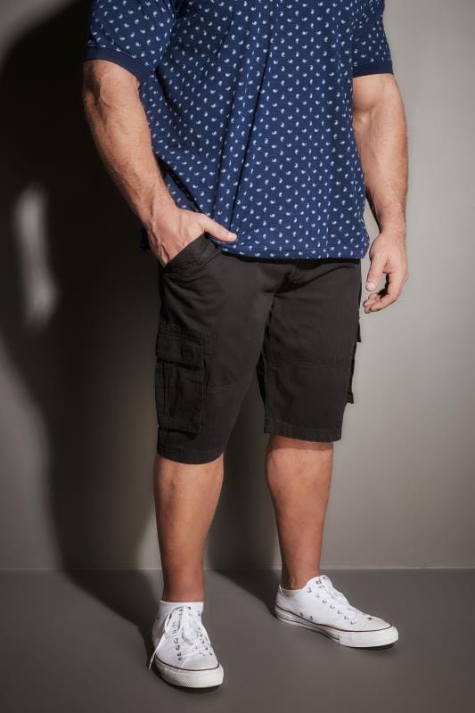 Cargo Shorts BadRhino Black Cargo Shorts With Canvas Belt 110474