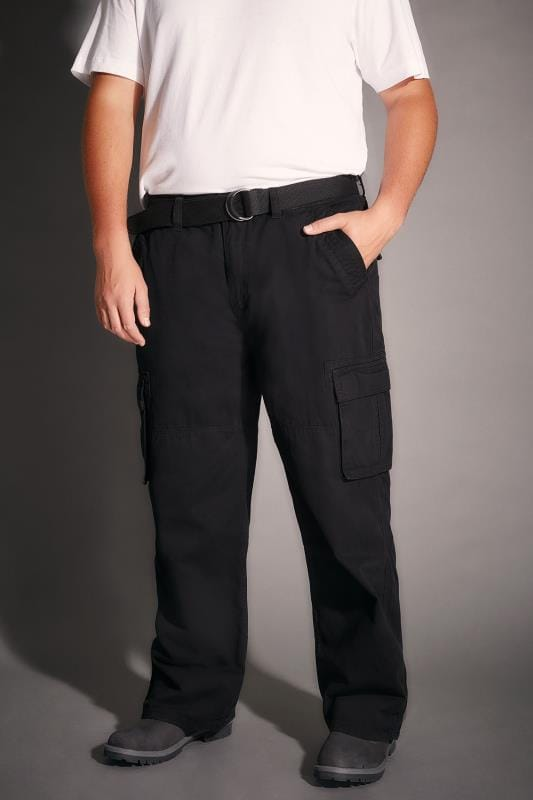 BadRhino Black Cargo Trousers With Utility Pockets & Canvas Belt