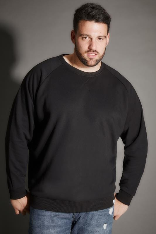 BadRhino Black Crew Neck Raglan Basic Sweatshirt