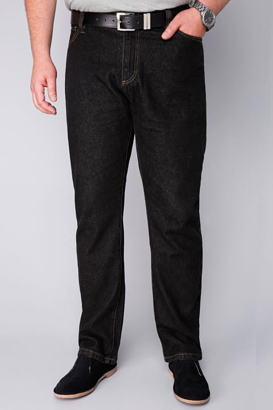 BadRhino Black Stonewash Denim Straight Leg Stretch Jeans - TALL