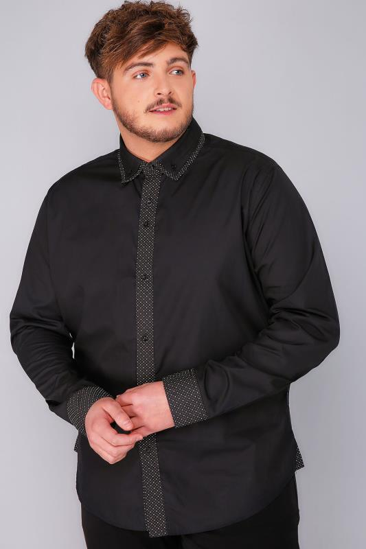 Smart Shirts BadRhino Black Double Collar Smart Shirt With Patterned Finish 101866