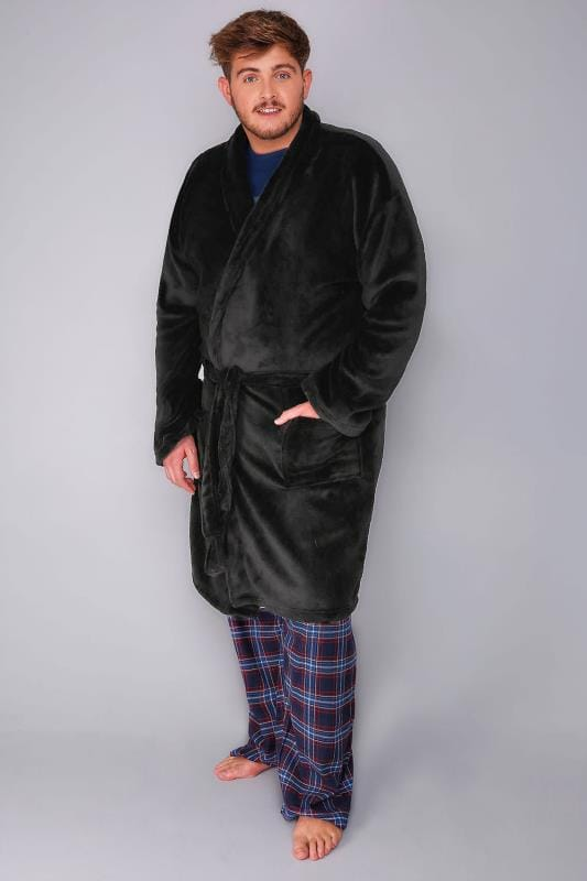 BadRhino Black Fleece Dressing Gown With Waist Tie