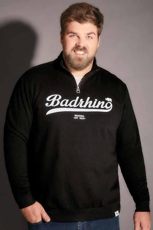 BadRhino Black Funnel Neck Logo Detail Sweatshirt