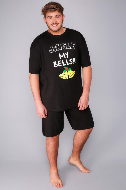 BadRhino Black Jingle Bells Print T-Shirt & Plain Shorts Loungewear Set