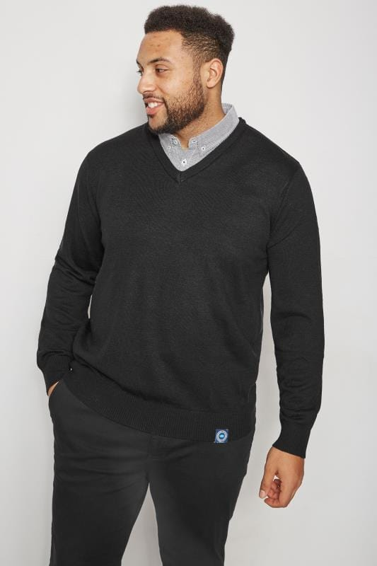 Jumpers BadRhino Black Jumper With Mock Striped Shirt Collar 200662