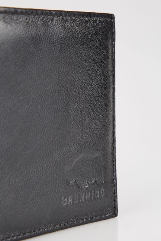 BadRhino Genuine LEATHER Black Logo Embossed Tri-Fold Wallet