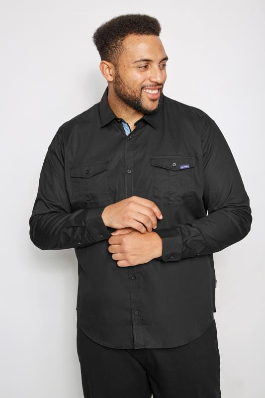 Casual Shirts BadRhino Black Military Shirt With Two Chest Pockets 200443