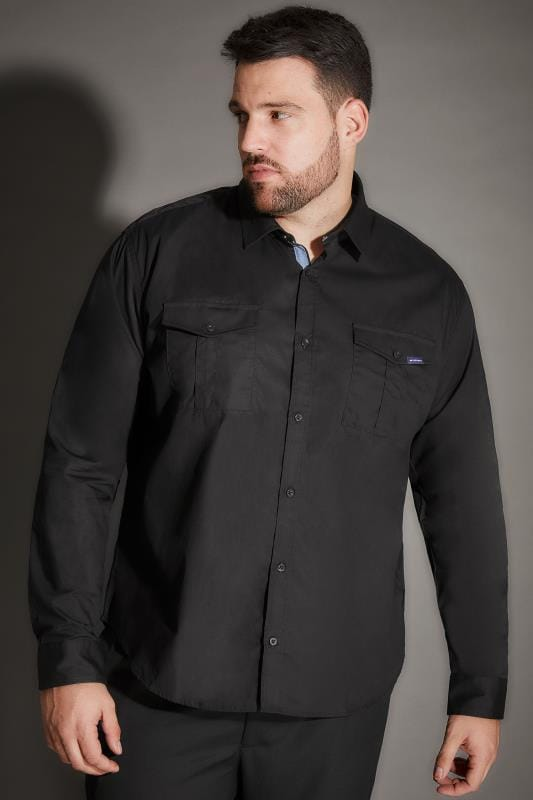 BadRhino Black Military Shirt With Two Chest Pockets