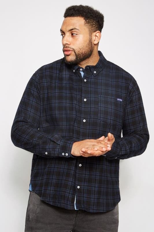 BadRhino Black & Navy Brushed Checked Shirt