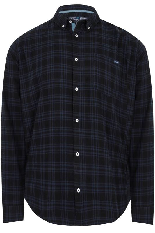 Casual Shirts BadRhino Black & Navy Brushed Checked Shirt 200419