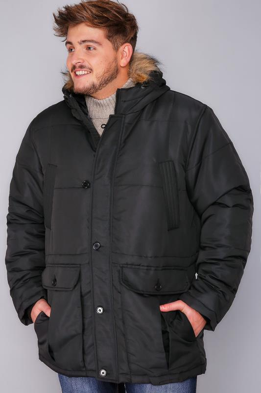 BadRhino Black Parka With Faux Fur Trim Hood