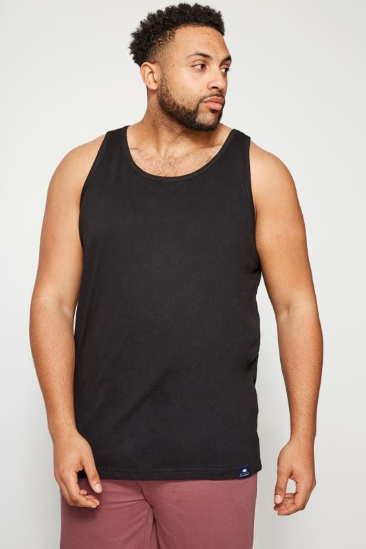 Vests BadRhino Black Plain Crew Neck Cotton Vest 110245
