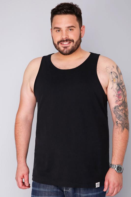 BadRhino Black Plain Crew Neck Cotton Vest - TALL