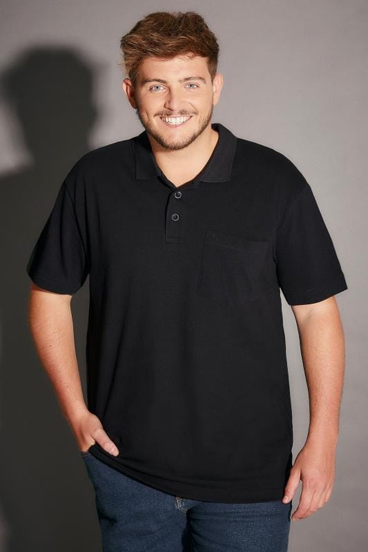 BadRhino Black Plain Polo Shirt - TALL