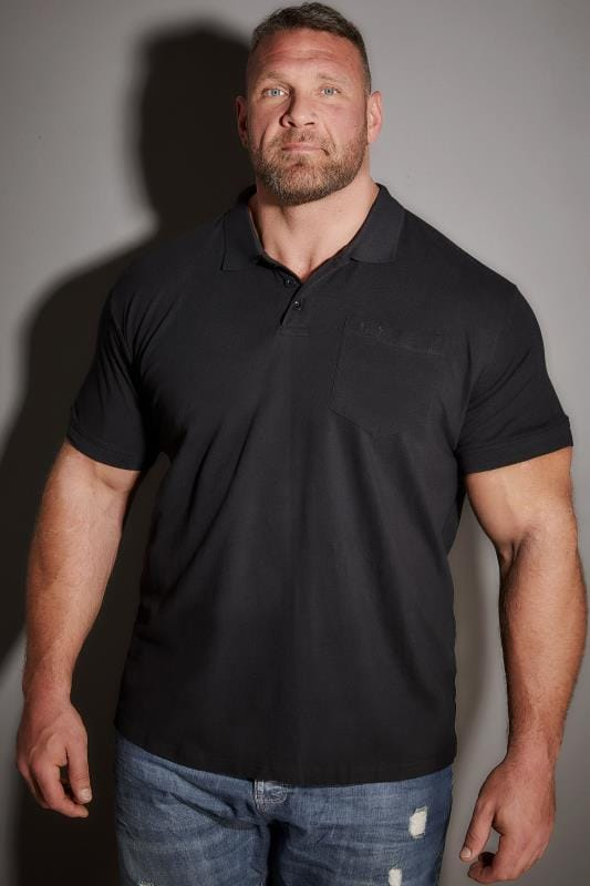 BadRhino Black Plain Polo Shirt With Chest Pocket